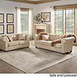 Winger Beige Fabric Button Tufted Chesterfield Sofa Set