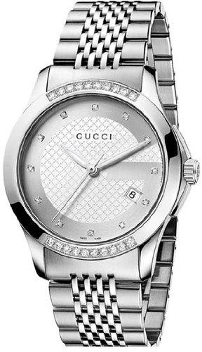 Gucci G Timeless Silver Dial Diamond Mens Watch YA126407
