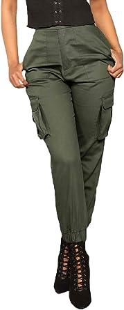 Mujer Pantalon Cargo Elegantes Moda Retro Casuales Otono Primavera Pantalones Color Solido Con Bolsillos Laterales Ropa Elastische Taille Pants Pantalones De Jogging Color Armygreen Size Xl Amazon Es Ropa Y Accesorios