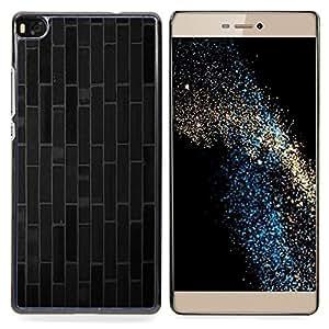 """Qstar Arte & diseño plástico duro Fundas Cover Cubre Hard Case Cover para Huawei Ascend P8 (Not for P8 Lite) (Ladrillo azulejos líneas modelo gris oscuro"""")"""