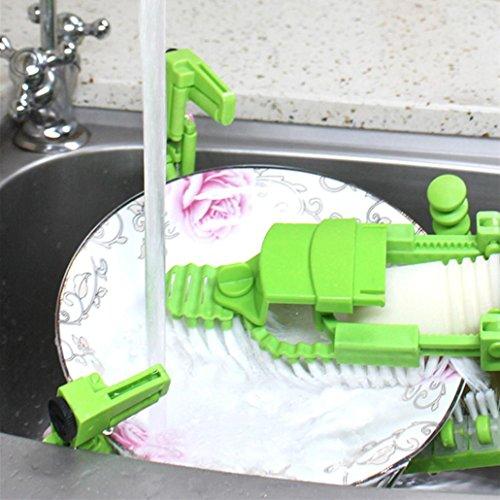 Makaor Handheld Automatic Dish Scrubber Brush Antibacterial Kitchen Dishwasher Brush Kitchen Cleaning Tool Automatic Dish Scrubber Brush (Green, Size:41.8cm x 11.5cm x 7cm) by Makaor (Image #3)
