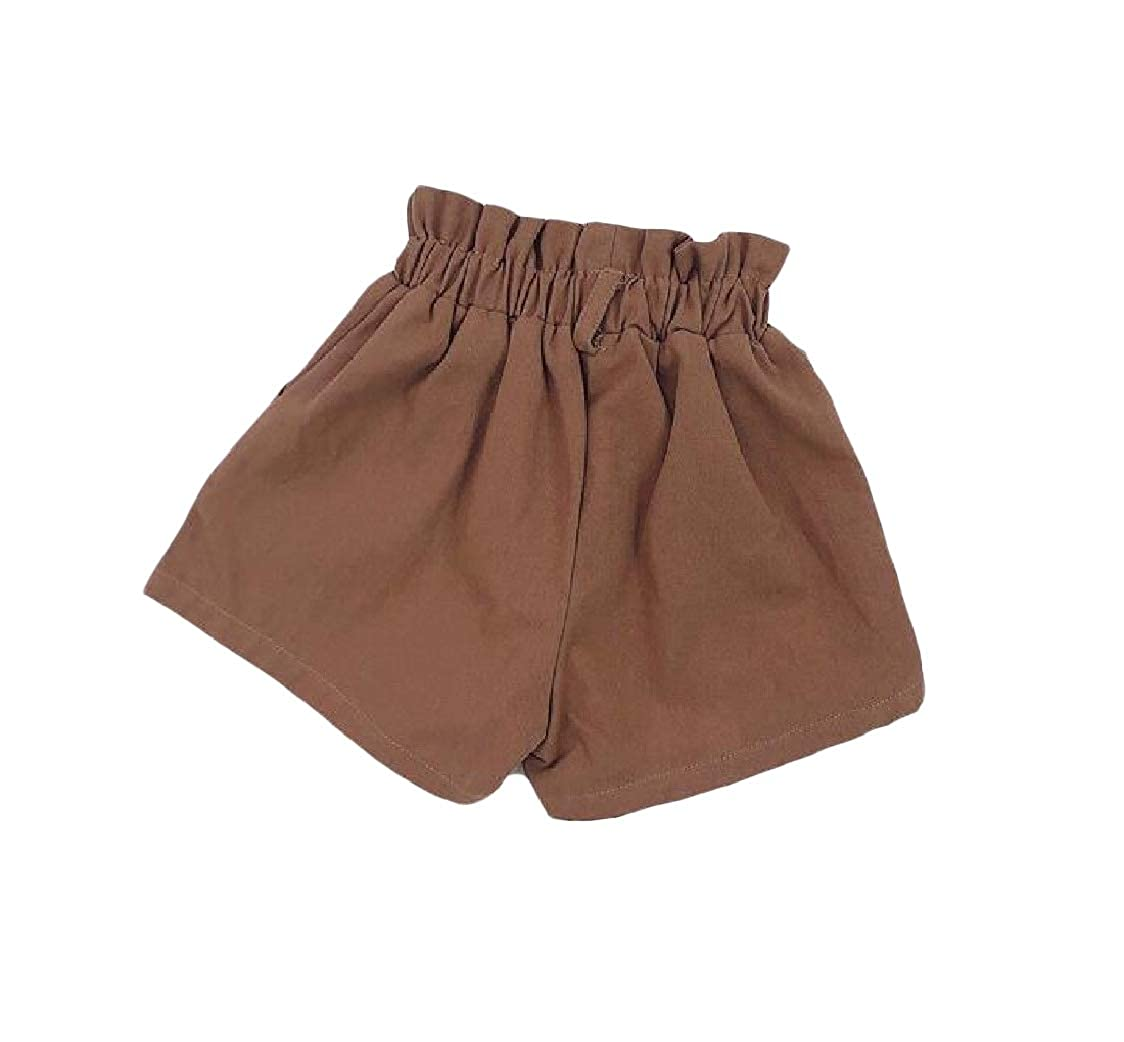 Pcutrone Girl Washed Elastic Waist Pure Color Cotton Loose Cute Shorts
