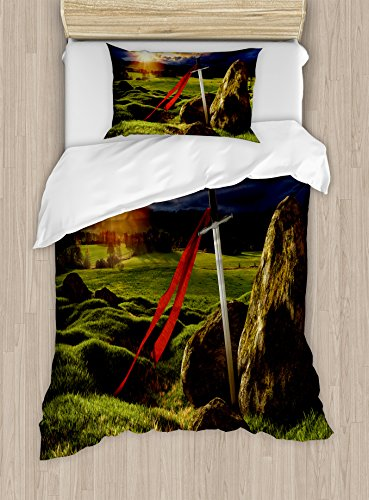 Ambesonne King Duvet Cover Set Twin Size, Arthur Camelot Legend Myth in England Ireland Fields Invincible Myth Image, Decorative 2 Piece Bedding Set with 1 Pillow Sham, Green Blue and Red