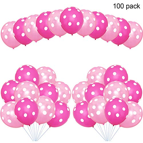 Party Balloons, 12inch Pink Polka Dot Balloons, Party Decoration Compatible Wedding Birthday Baby Shower Graduation party Christmas Party (100 Pcs) -
