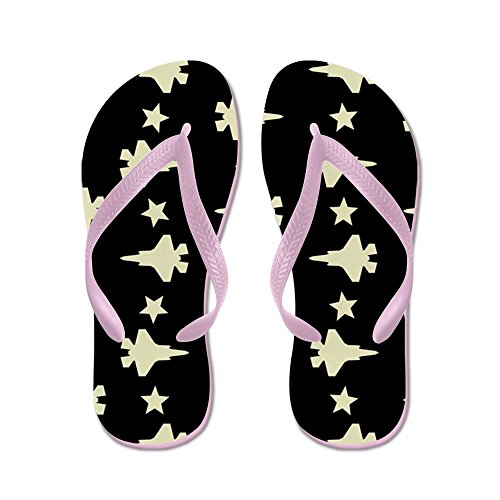 CafePress F-35 Lightning II & Stars Pattern (Blac - Flip Flops, Funny Thong Sandals, Beach Sandals