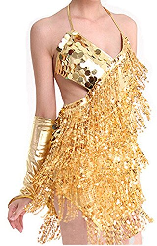 [Seawhisper Sexy Sparkling Sequins Tassels Skirt Ballroom Salsa Samba Rumba Tango Latin Dance Dress Halloween Costumes(red, gold, green, silver) One Size] (Revealing Costumes)