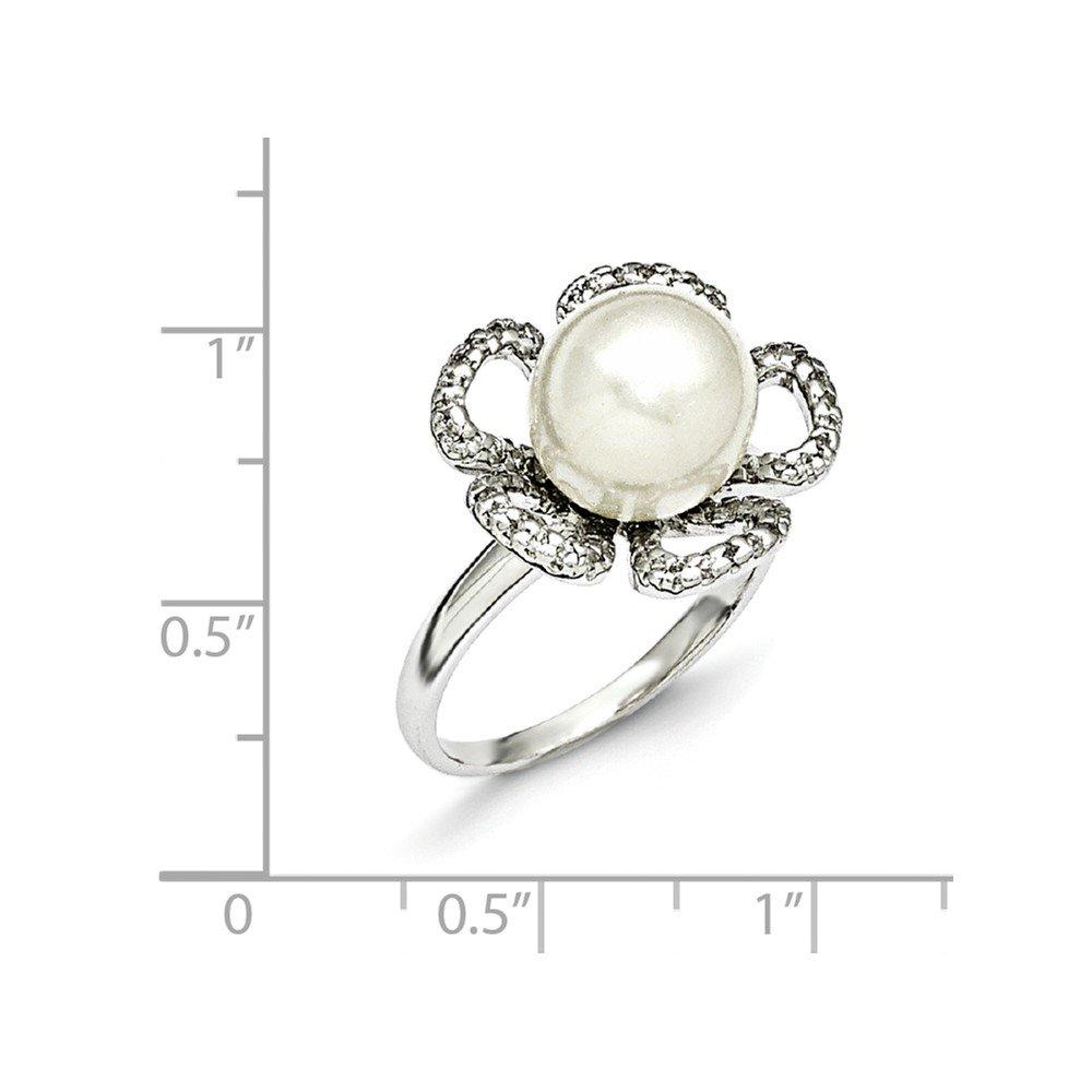 Majestik Sterling Silver Majestik 10-11mm White Shell Bead and CZ Ring