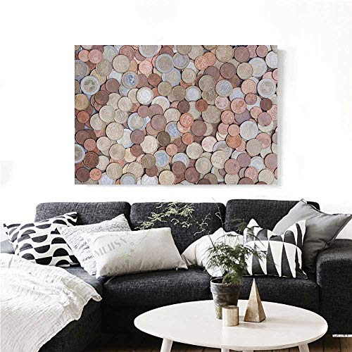 homehot Money Canvas Wall Art for Bedroom Home Decorations Close Up Photo of Coins European Union Euros Cents on Rustic Wooden Board Art Stickers 32