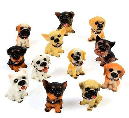 OK-STORE 12 Pcs Miniature Dog Puppy Resin Craftwork Decorations Dollhouse Creative Home Crafts Toy Desk Decorations Pets Figurines