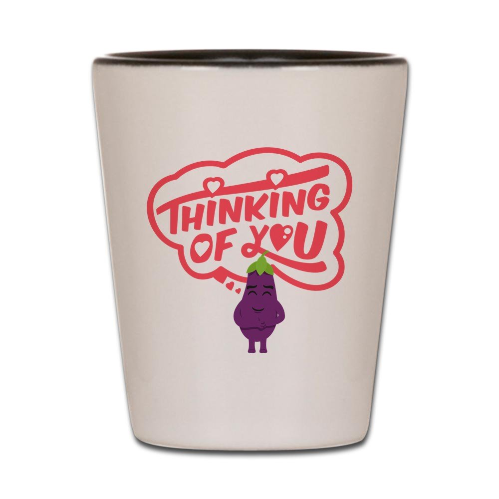 Amazon.com | CafePress - Emoji Eggplant Thinking Of You - Shot Glass ...