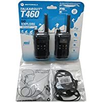 2-PACK Motorola Talkabout T460 22 Channel Weatherproof Two-Way Radios with G-Shape Clip E 1-Pin Headsets