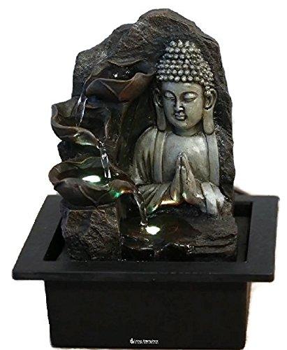 Zimmerbrunnen Innenbrunnen Feng Shui Buddha Spirit LED Farb Beleuchtung 26 cm