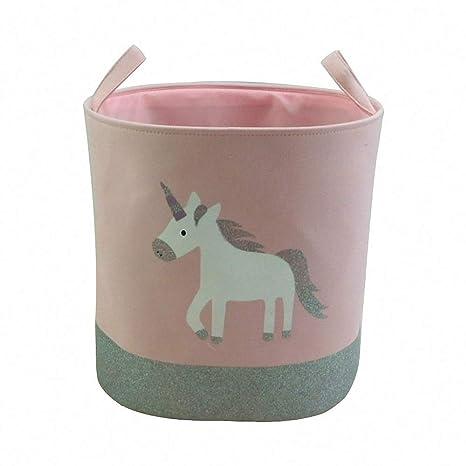 Amazon com: Cute Pink Unicorn Storage Basket Portable