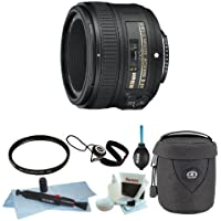 Nikon AF-S NIKKOR 50mm f/1.8G Lens with Tiffen 58mm UV Filter with Lens Case and Accessories- Includes USA Warranty