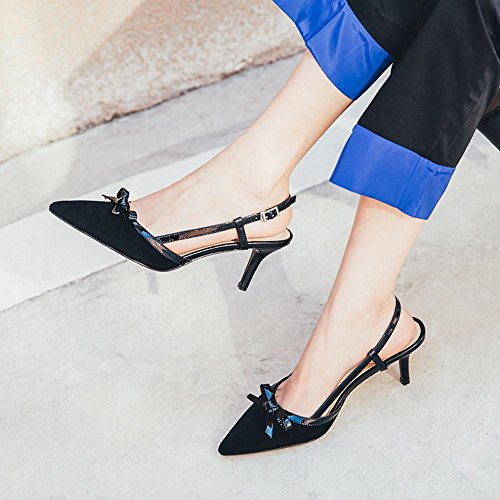 GJDE Mujer Tacón Stiletto Tira en el Tobillo Sandalias Boda Oficina y Trabajo Fiesta y Noche Cuero Black