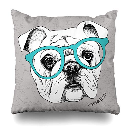 Ahawoso Throw Pillow Cover Cute Bulldog Glasses Face Art Funny Black Breed Cool Design Home Decor Pillow Case Square Size 18 x 18 Inches Zippered Pillowcase