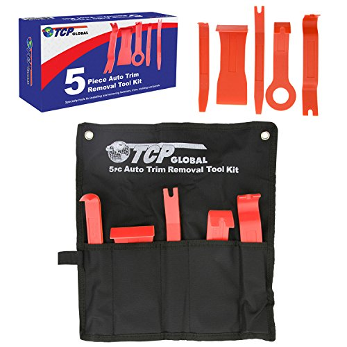 TCP Global 5 Piece Auto Trim Removal Tool Kit - Specialty Tools For Installing and Removing Fasteners, Trims, Molding & Panels