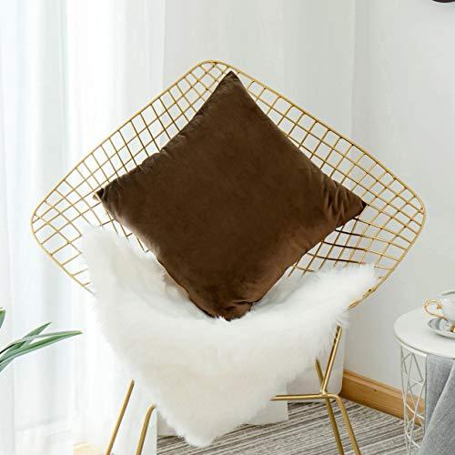 HOME BRILLIANT Velvet Cushion Cover for Office Decorative Pillow Cover for Bed Room, 18 x 18 Inch 45 x 45 cm, - Velvet Brown Cushion