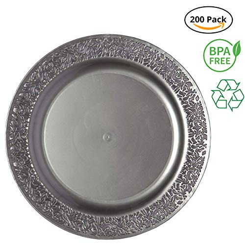 Party Joy 'I Can't Believe It's Plastic' 200-Piece Plastic Dinner Plate Set   Lace Collection   Heavy Duty Premium Plastic Plates for Wedding, Parties, Camping & More (Grey)