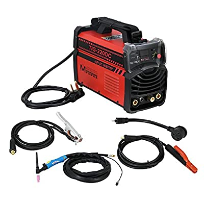 AMICO POWER TIG220DC 220 Amp 2-in-1 TIG Torch/Arc/Stick DC Inverter Soldering Machine, Red