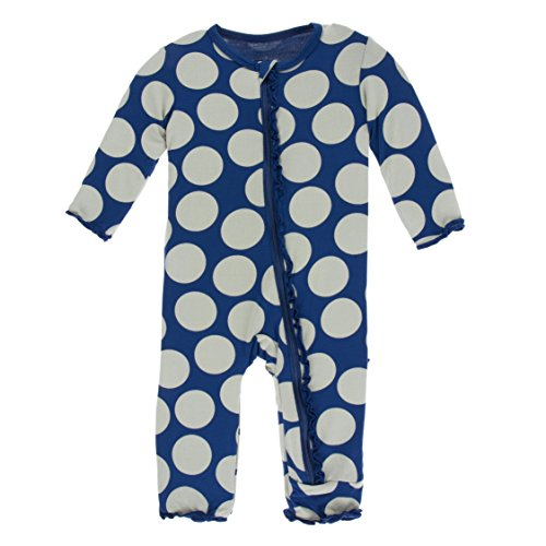 Kickee Pants Little Girls Print Muffin Ruffle Coverall with Zipper - Navy Mod Dot, 9-12 - Pink Mod Dots