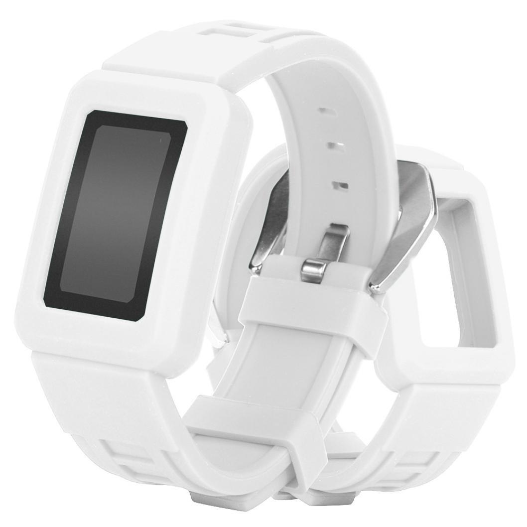 For Fitbit Charge 2、Binmer ( TM )シリコン保護ケース付きバックル腕時計バンドストラップベルト 26cm Binmer(TM) ホワイト ホワイト B076HHHFSS