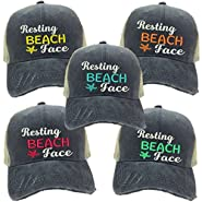 Adult Custom Distressed Funny Trucker Hat Resting Beach Face Embroidered Ball Cap
