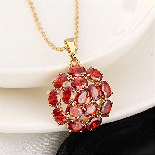 suchadaluckyshop Women Wedding Luxury Garnet 18K Yellow Gold Filled Pendant Chain Necklace