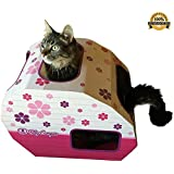***FLASH SALE*** Cardboard Cat Houses For Indoor & Outdoor Cats -The Kitty Camper Is The Perfect Play House, Cave, Igloo, Condo or Pet Bed - Just Add Toys a Blanket & Feel Good About Leaving Your Kitten & Pets at Home- FREE EBook - Money Guarantee -PINK