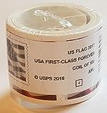 Sealed USPS Forever Stamps, Coil of 100 US Flag Postage Stamps (2016 or 2017 version) - Shrinkwrapped