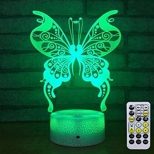 3D Night Light Lamp-Butterfly Night Colors Light Remote Control USB Powered-Night Lights for Girls Butterfly Lamp Decor for Girls Bedroom/Night Lights for Kids/(Butterfly)