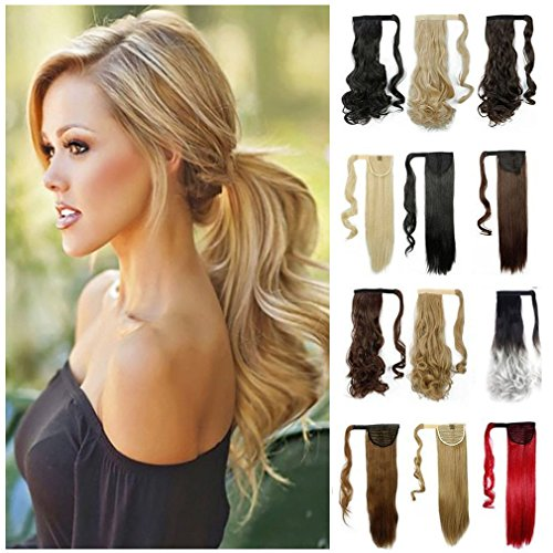 Hair Extensions Ponytail Wrap Around Ponytail Clip in Hair Extensions One Piece Magic Paste Long Wavy Curly Soft Silky for Women Ladies Fashion and - How Class Usps Is First Long