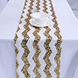 TRLYC 5Pcs 12 by 108-Inch Gold Chevron Sequin Tablerunner