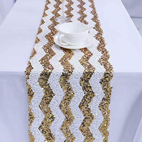 TRLYC 12 by 108-Inch Gold Chevron Sequin Table Runner For -