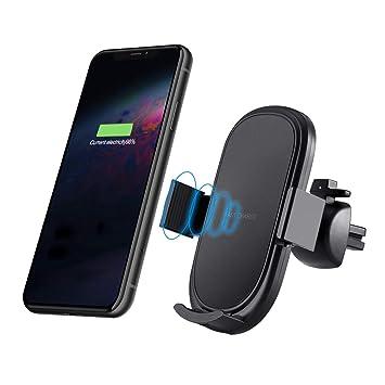 X-REAKO Cargador Inalámbrico Coche, 10W / 7.5W Carga Rápida inalámbrico Soporte Móvil para iPhone XS/MAX/X/XR/8/8 Plus,Samsung Note 5/7/8/9/FE Galaxy ...