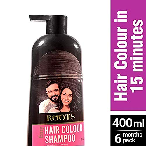 Roots 3 in 1 Easy Hair Color Shampoo Bottle (Dye, Conditioner & Shampoo) | Ammonia Free Instant Semi-Permanent Black Hair Dye Shampoo (400ml / 13.52 fl oz) by Roots Easy Hair Colour Shampoo