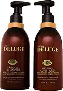 DELUGE - Moroccan Argan Oil Shampoo and Conditioner. Sulfate, Phosphate and Paraben Free. Keratin and Omega 3,6