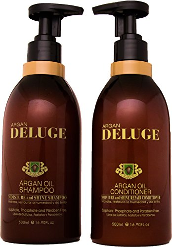 DELUGE - Moroccan Argan Oil Shampoo and Conditioner. Sulfate, Phosphate and Paraben Free. Keratin and Omega 3,6 (Adding Essential Oils To Shampoo For Hair Loss)