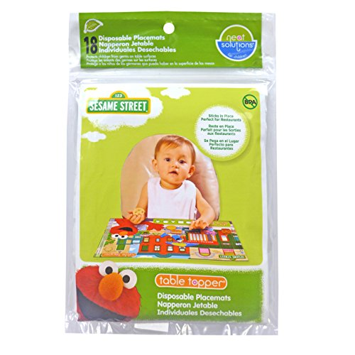 Neat Solutions Sesame Street Table Topper Disposable Stick-in-Place Placemats - 18 Count