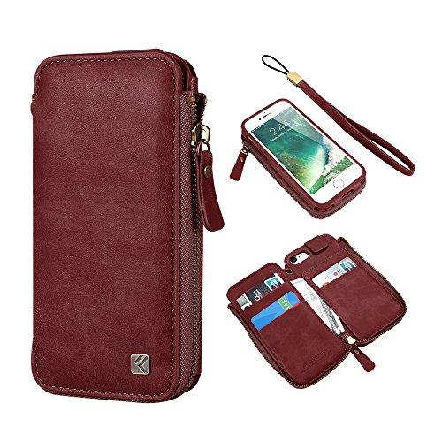 iPhone 7 Slim Wallet Cases, FLOVEME Vintage Zipper Pocket...