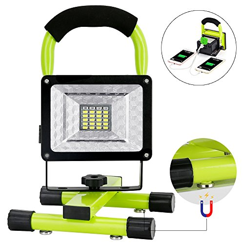 Work Light,15W 1600LM IPX5 Waterproof Work Light With 2 USB Ports to Quickly Charge for Mobile Devices, Super Bright Rechargeable Outdoor Camping Lights with Magnetic Base (Green)
