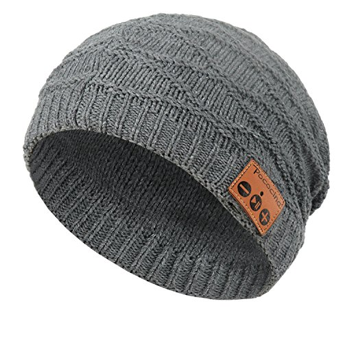 Bluetooth Beanie Hat with Headphone, Pococina Knit Cap Built in Mic and Wireless Headset for Man and Women (JX grey)