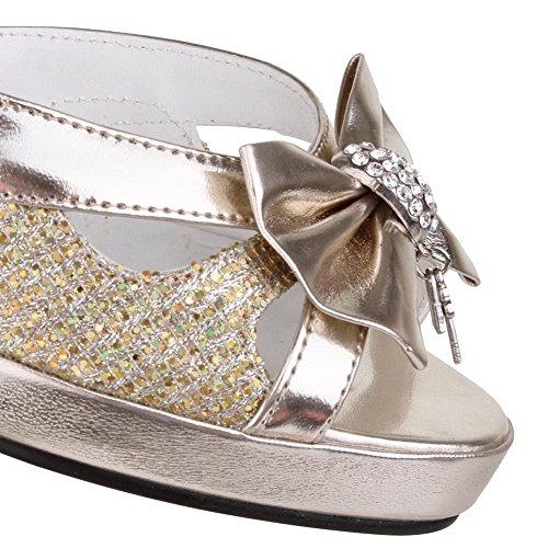AmoonyFashion Womens High Heels Solid Buckle Open Toe Sandals Gold rCQYqeMF