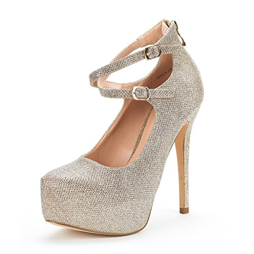 Gold High Heel Pump (DREAM PAIRS Women's Swan-20 Gold Glitter High Heel Platform Pump Shoes - 10 M US)
