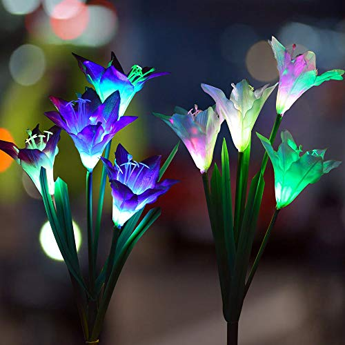 COOL LIFE Outdoor Flowers Solar Lights Decorative- Garden Stake Lights - Multi-Color Changing LED Solar Stake Decorative Lights for Garden, Patio, Backyard (Lily Fairy(White and Purple))