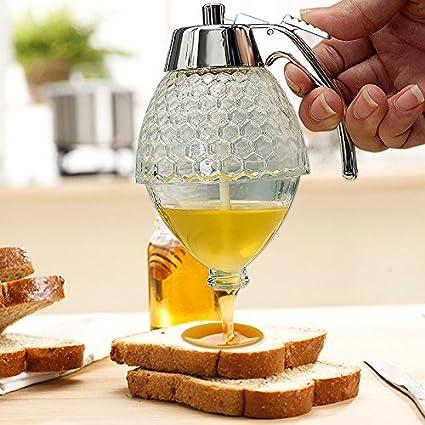 Dispensador de jarabe de miel tarros, essort macetas de miel 200 ML acrílico transparente cristal