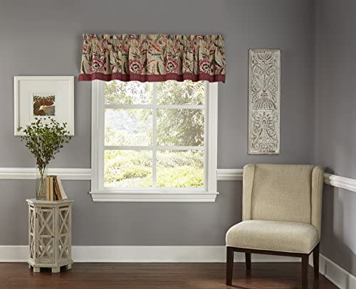 Waverly Kitchen Valances for Windows – Key of Life 52 x 16 Short Curtain Valance Small Window Curtains Bathroom, Living Room and Kitchens, Jubilee