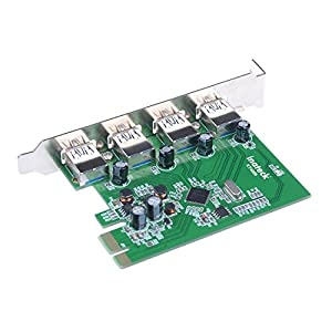 Inateck 4 Ports PCI-E to USB 3.0 Expansion Card Interface USB 3.0 4-Port Express Card Desktop for Windows XP/7/8/10, Mini PCI-E USB 3.0 Hub Controller Adapter, No Additional Power Connection Needed from Inateck