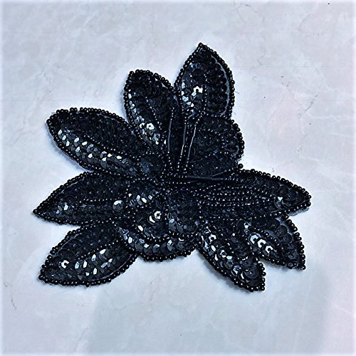 Black Sequin Flower Applique Price per Piece (Applique Epaulet)