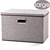 Prandom Large Foldable Storage Bin with Lid [1-Pack] Linen Fabric Decorative Storage Box Organizer Containers Basket Cube with Handles Divider for Bedroom Closet Office Living Room (17.7x11.8x11.8)